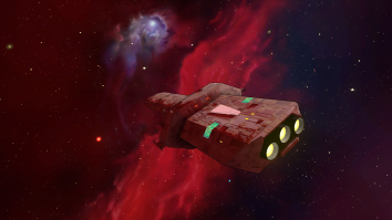 Exploration ship heading into a Nebula.